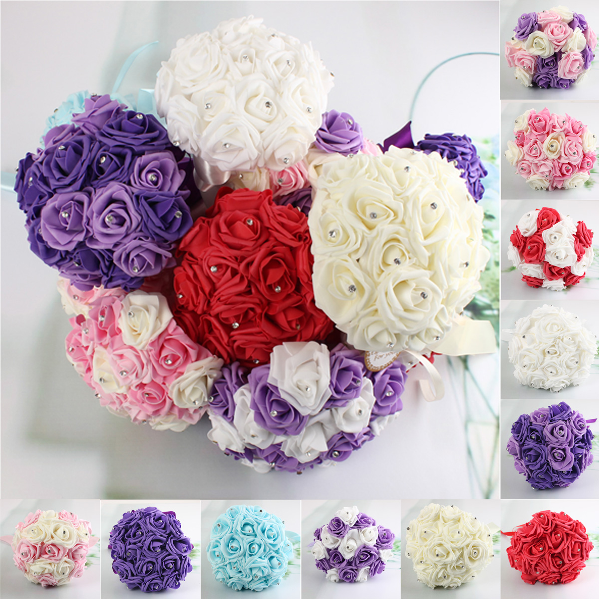 30cm / 11.8'' Crystal Foam Flower Roses Wedding Bridal Bridesmai