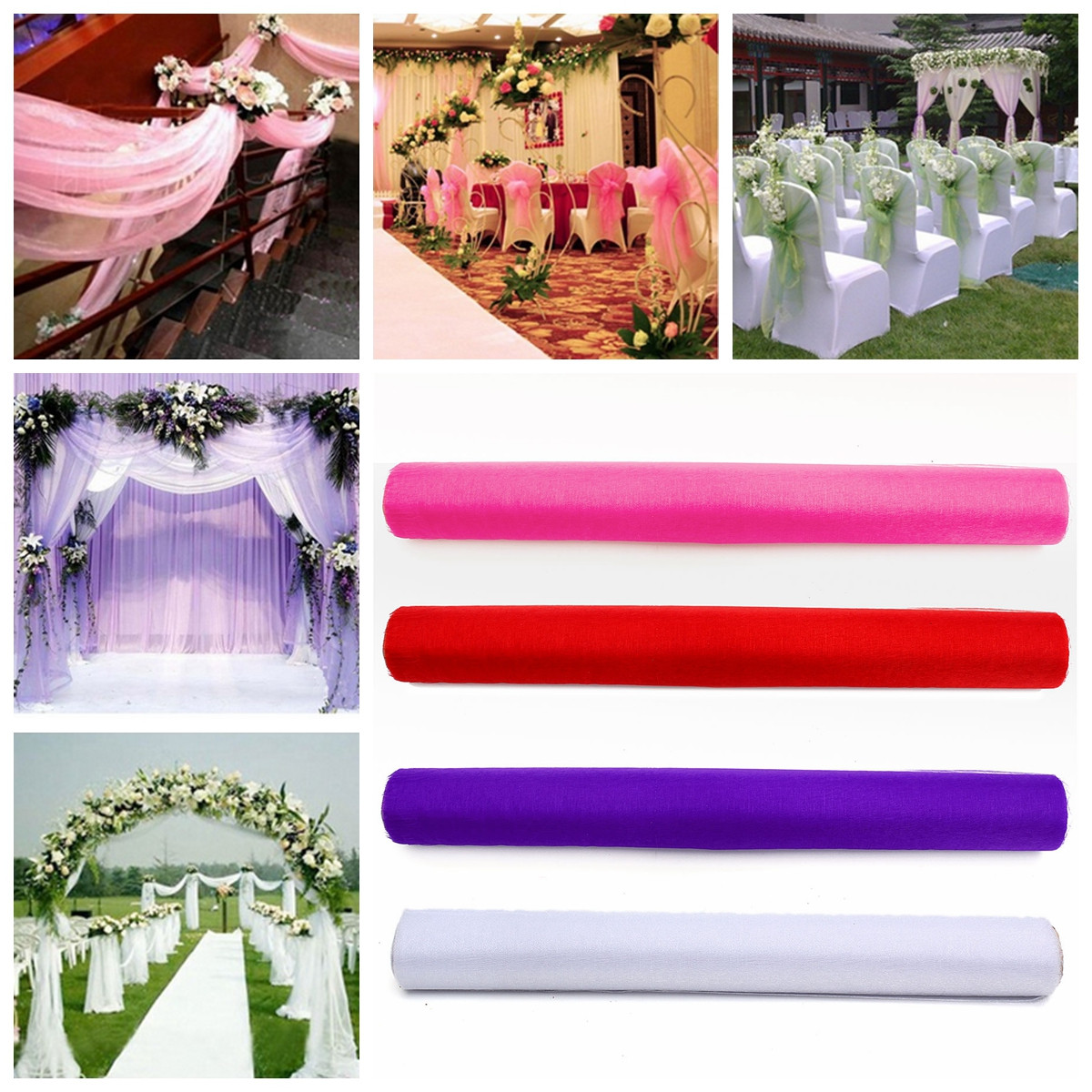 48cm 10Yards Sheer Organza Roll Wedding Chair Sash Bow Table Run