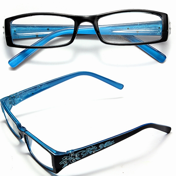 Blue Female Diamond Flower Frame Presbyopic Reading Glasses Eyeg