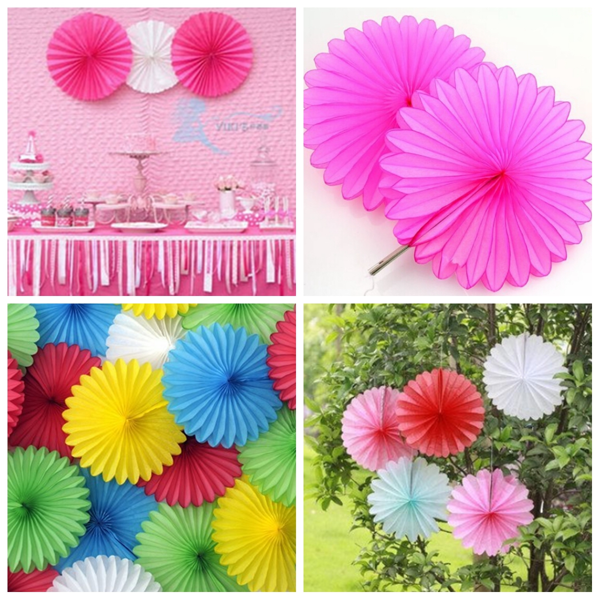 15cm 6'' Hanging Tissue Fan Paper Pom Poms Party Balls Wedding C