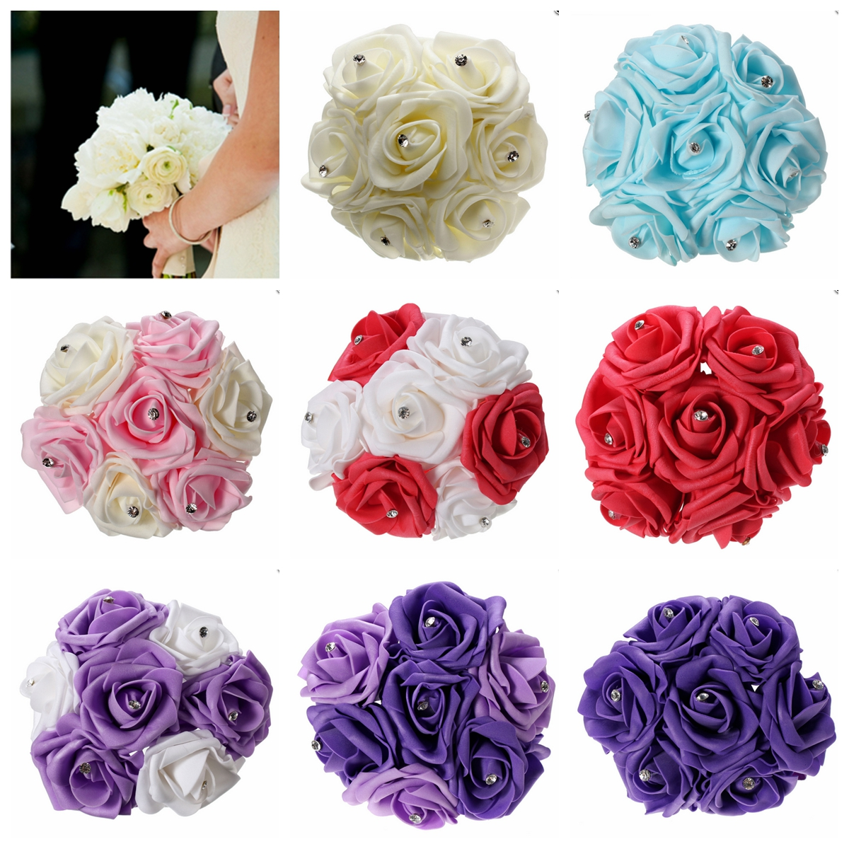 7 Heads Colourfast Foam Roses Crystal Artificial Flower Home Wed