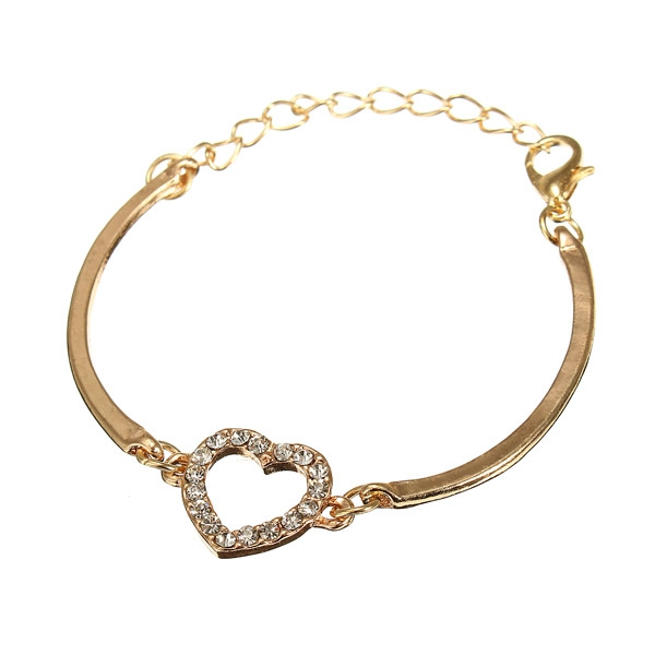 Crystal Rhinestone Love Heart Alloy Chain Bracelet Bangle For Wo