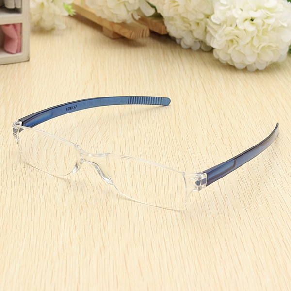 Lightweight Blue Rimless Resin Magnifying Reading Glasses Fatigu