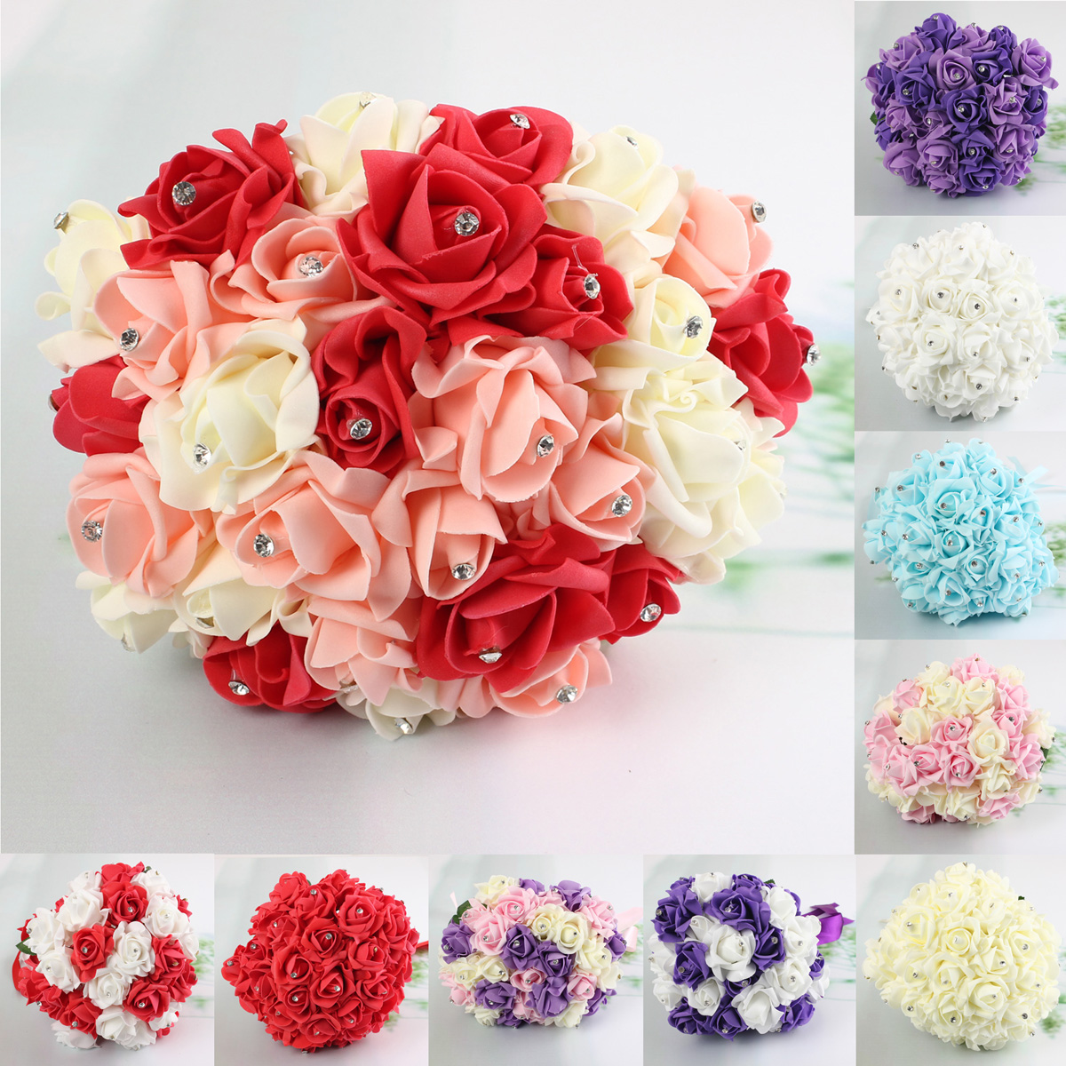 30 Heads Colourfast Foam Roses Crystal Artificial Flower Home We