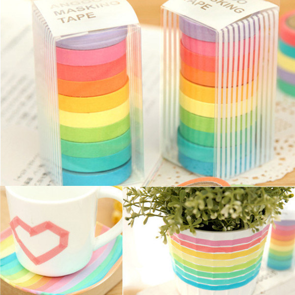 10 Rolls Rainbow  Paper Tapes Adhesive Sticker Candy Color Decor
