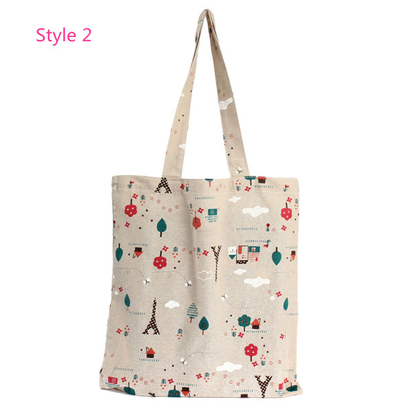 Canvas Reusable Brief Storage Shopping Shoulder Tote Handbag Gro