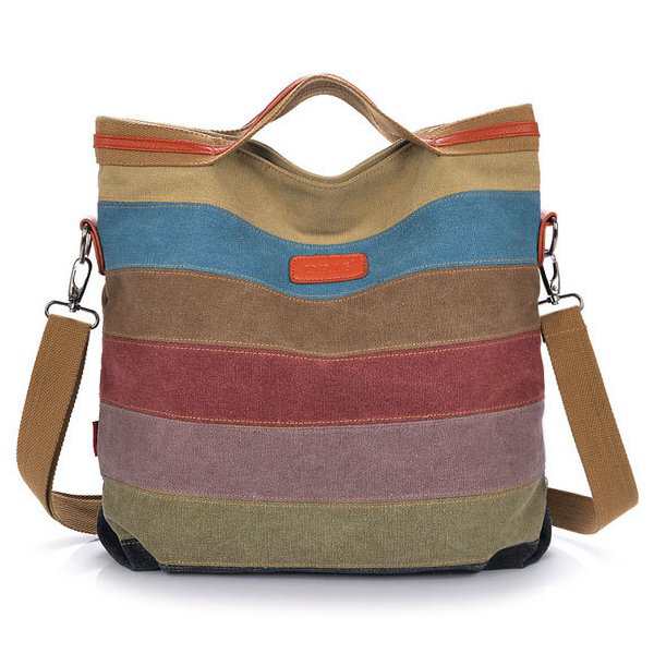 Women Canvas Striped Crossbody Bags Vintage Contrast Color Canva