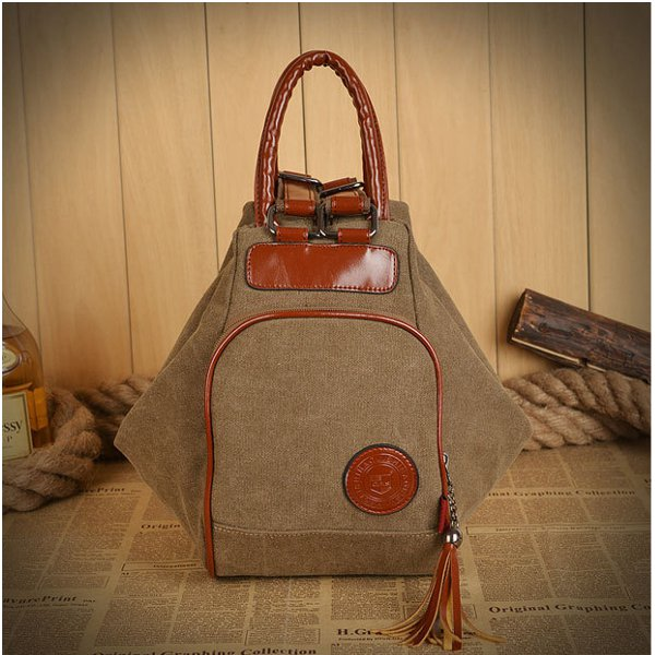 Women Men Canvas Tassel Backpack Casual Diagonal Handbags Multi