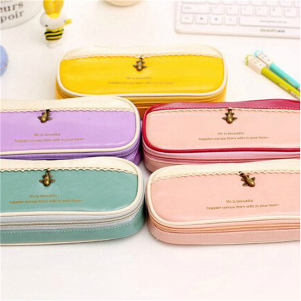 PU Leather Girl Pencil Case Travel Makeup Cosmetic Pen Pocket St
