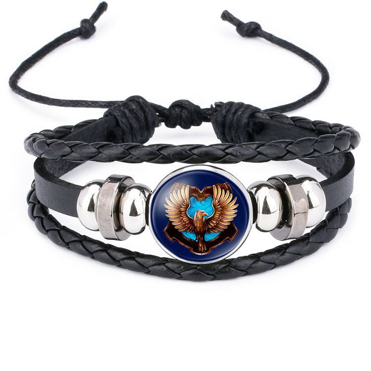 Badge Potter Hogwarts Magic Academy Time Gem Leather Bracelet M