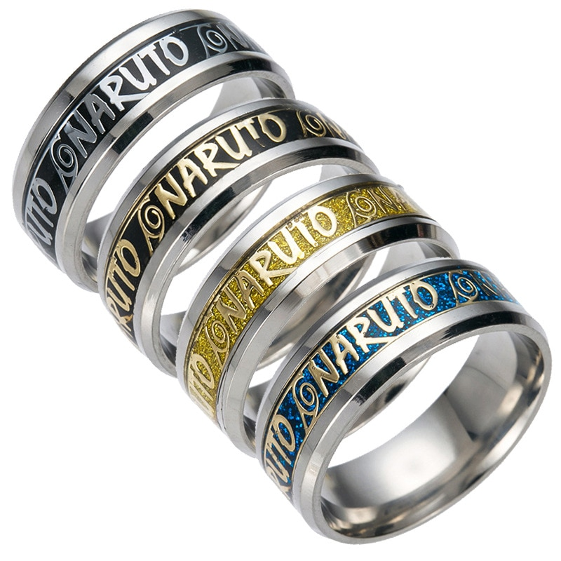 3Colors Stainless Steel Finger Ring Engraved NARUTO for WOMEN/M