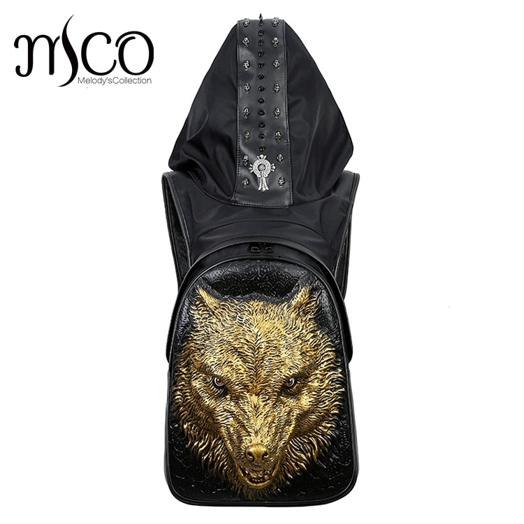 Fierce wolf Embossing knife leather backpack rivets backpack wit