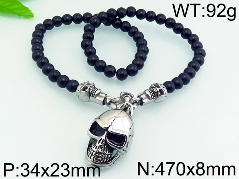 for men pendant  with beads stainless  Steel  Necklace