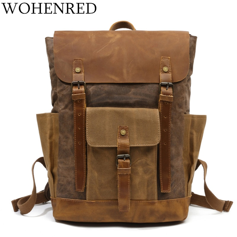 Waterproof Computer Laptop Bag Vintage Canvas Large Capacity Tra