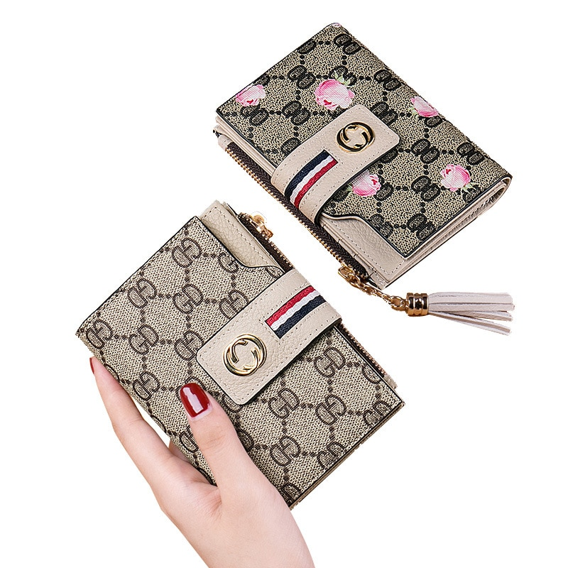 leather short wallet female multi-card tassel card bag wallet t