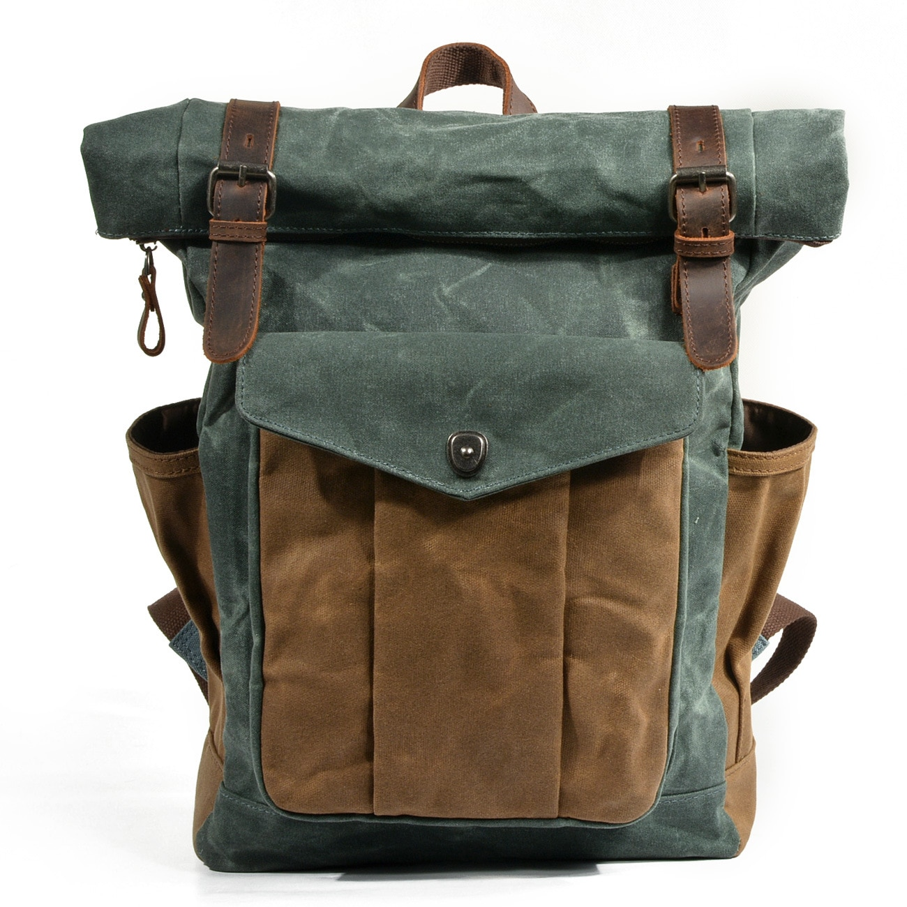 Men Large capacity Military Oiled Leather Canvas Backpacks Schoo