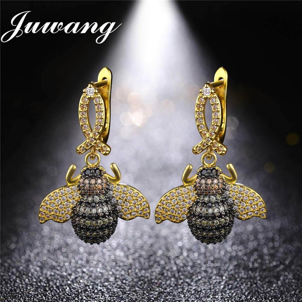 Insect Drop Earrings for Woman Girl CZ Clear with Multicolor Bi