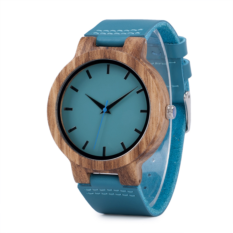 BOBO BIRD C28 Casual Style Wooden Watch Blue Genuine Leather Str