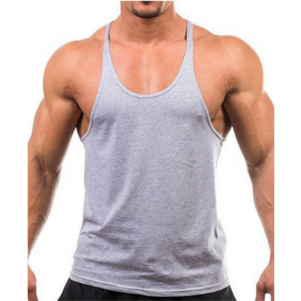 Men Summer Cotton Plain Gym Tank Top Sleeveless T-shirt Workout