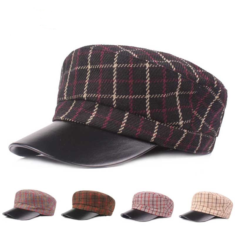 Outdoor Winter Cotton PU Leather Beret Caps Plaid Thicken Warm P