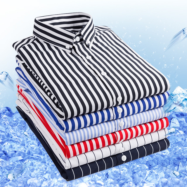 19 Season New Men's Seven-point Sleeve Striped Shirt Youth Casua