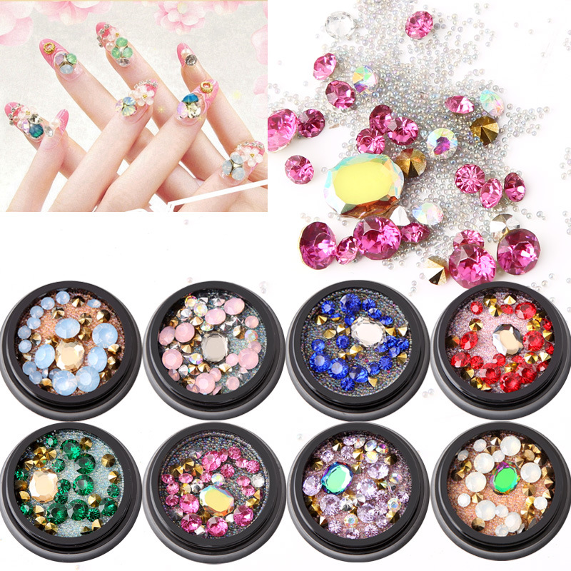1 Bottle Diamonds Nails Sticker Colorful Beads Crystal Nail Art