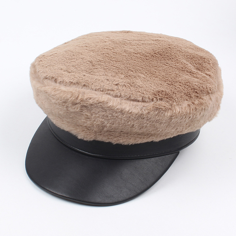 Women Artificial Rabbit Hair French Painter Beret Hat Outdoor Le