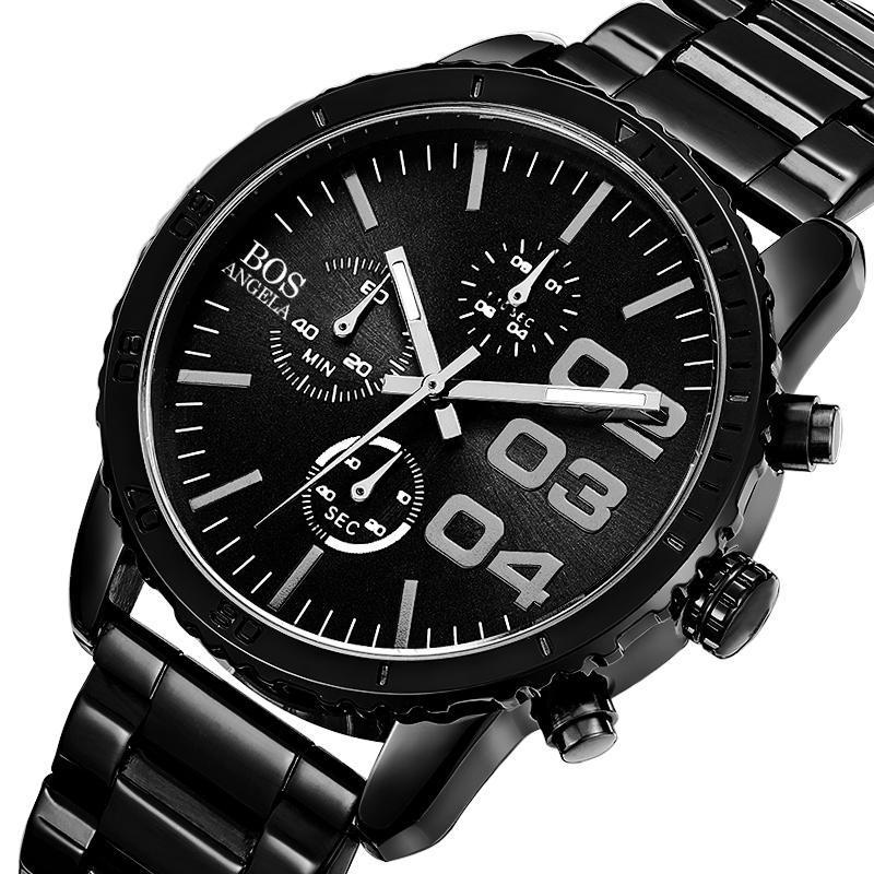 ANGELA BOS 8013G Men Watch Luxury Timer Stainless Steel Strap Ma