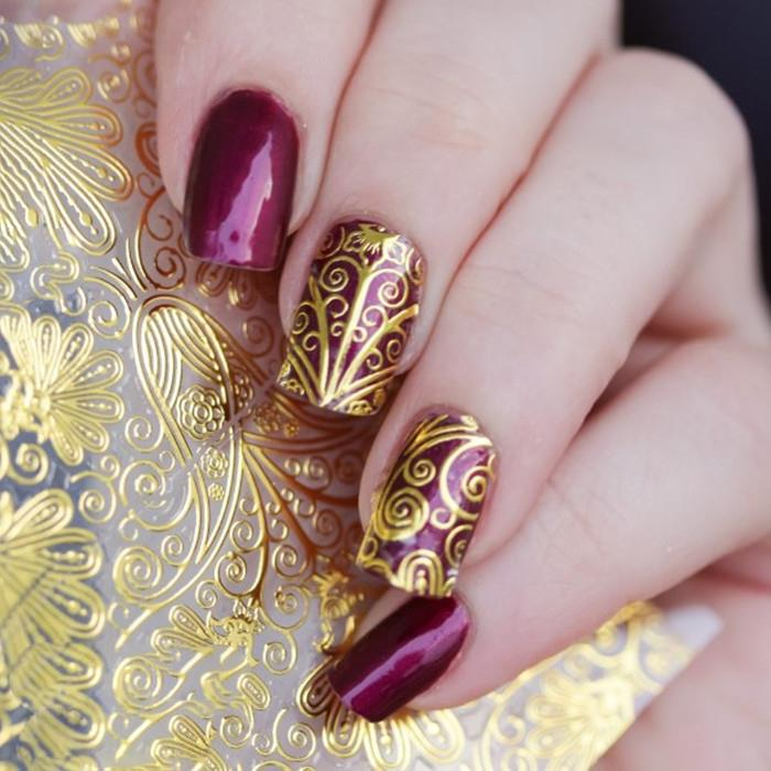 1 Sheet 3D Gold Embossed Nail Stickers Flower Blooming Decals Go