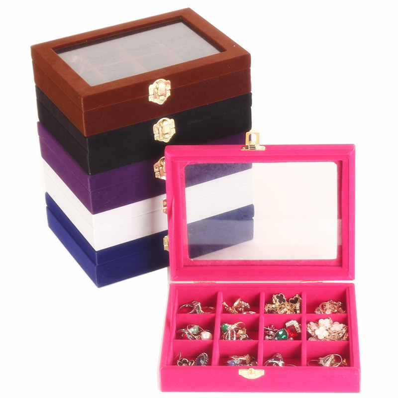 12 Grids  Jewelry Box Velvet Storage Organizer Display Showcase