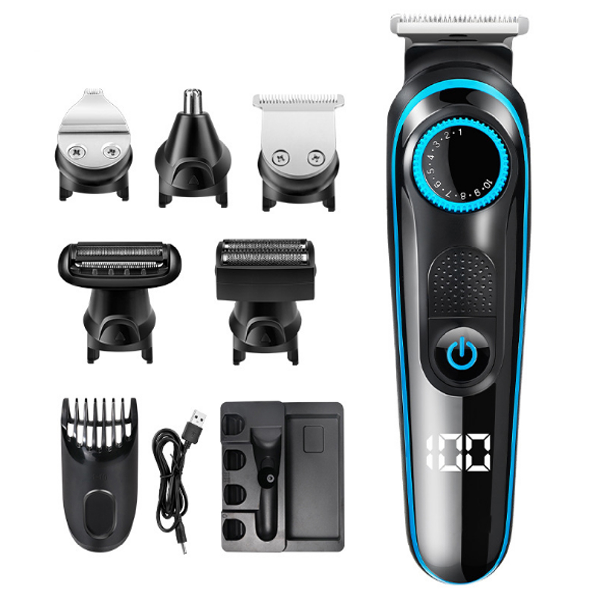 100-240V Rechargable Hair Clipper Multifunctional Hair Trimmer E