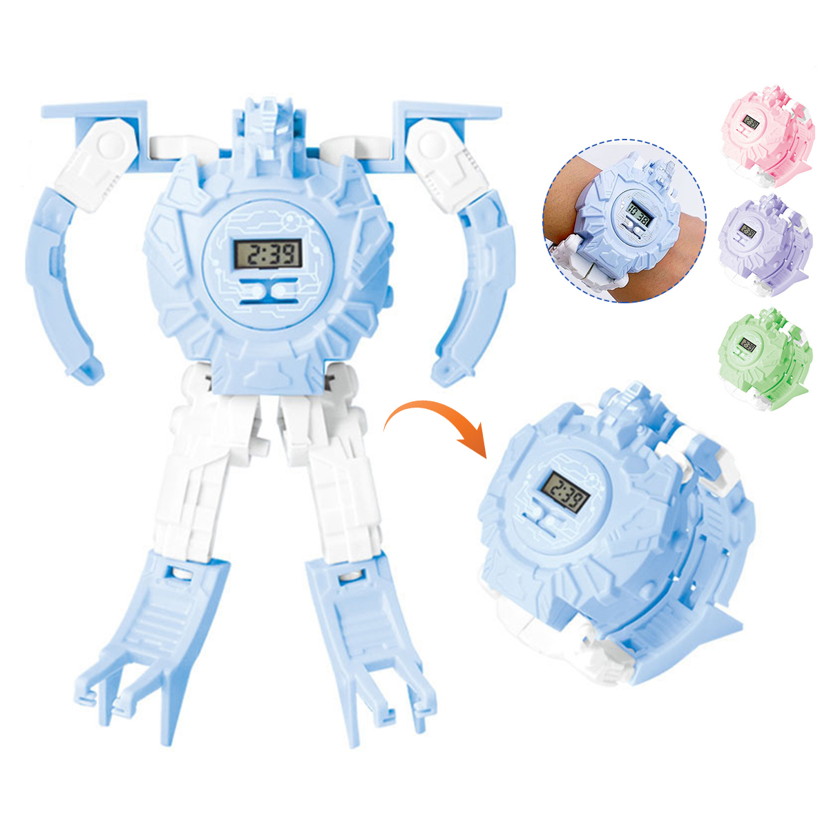 Creative Transmutable Robot Pattern Date Time Display Children T