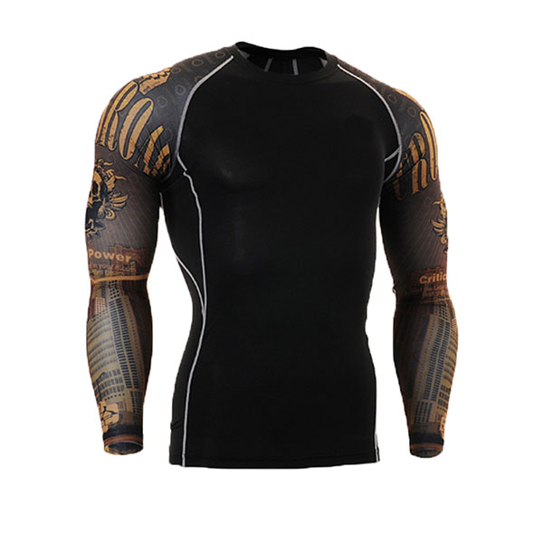 Men Quick Drying Tight Sports GYM Training Running Pattern Long