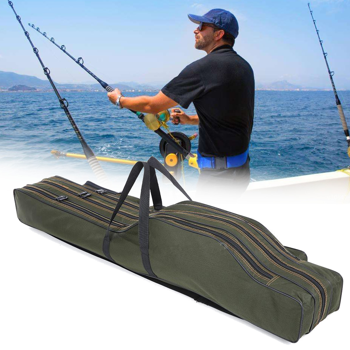 1.2M/1.3M Portable Folding Fishing Rod Bag Fish Pole Tools Stora