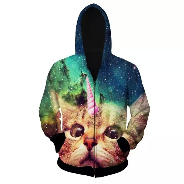 Men Sping Fall Dacron 3D Cartoon Cat Printing Zipper Hoodies Coa