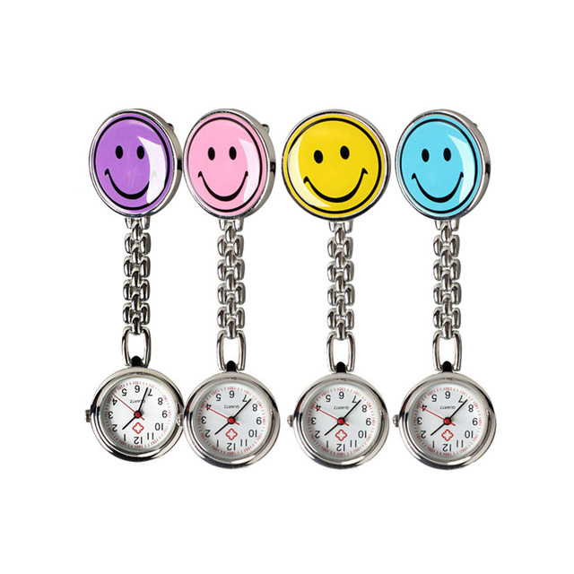 Portable Charm Smile Face Nurse Watch Stainless Steel Pocket Wat