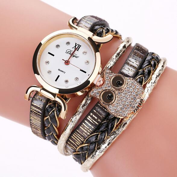 DUOYA DY114 Cute Style Owl Ladies Bracelet Watch Gift Leather St