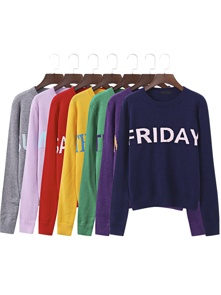 7 Color Letter Printed Long Sleeve Women Knitting Sweaters