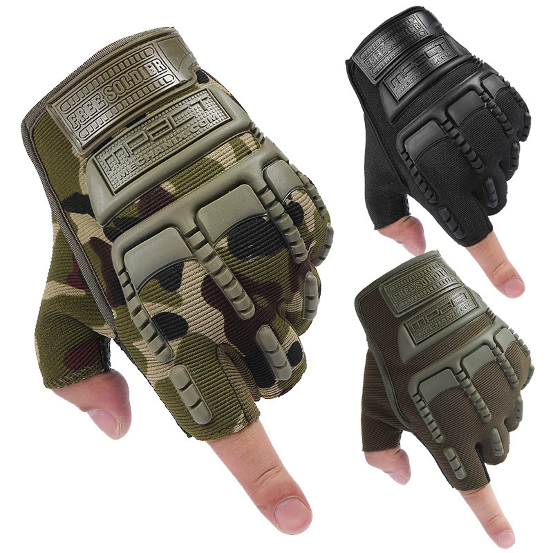 1 Pair Half Finger Gloves Tactical Soft Silicone Anti-skid Glove