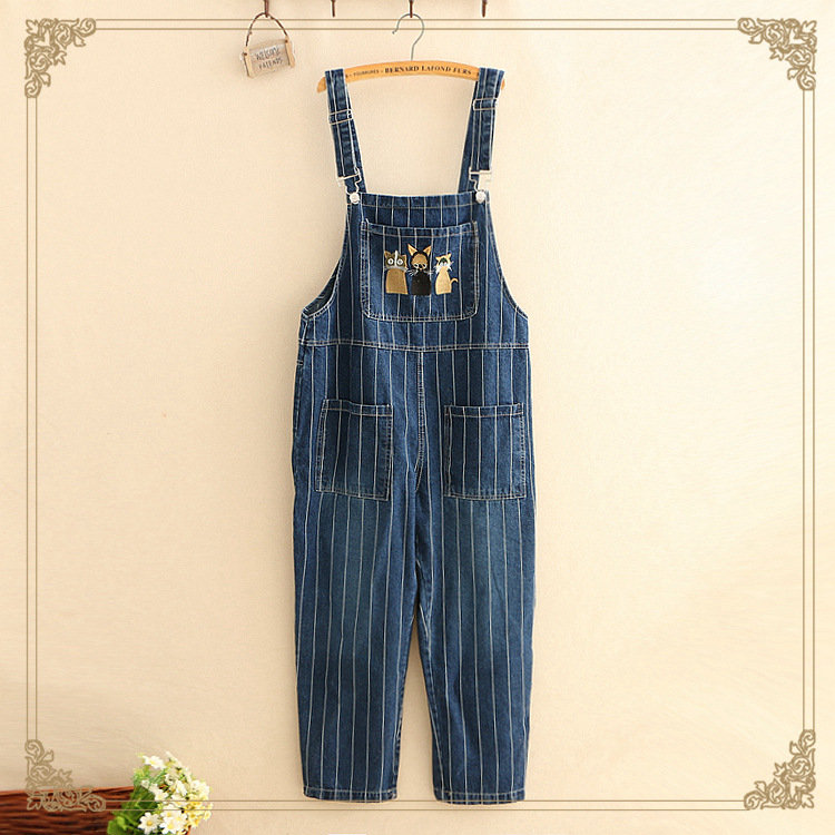 Women Cotton Denim Striped Cat Embroidered Cartoon Jumpsuit