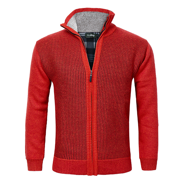 Men's Knitted Wool Blend Thick Polar Fleece Lining Sweater Cardi