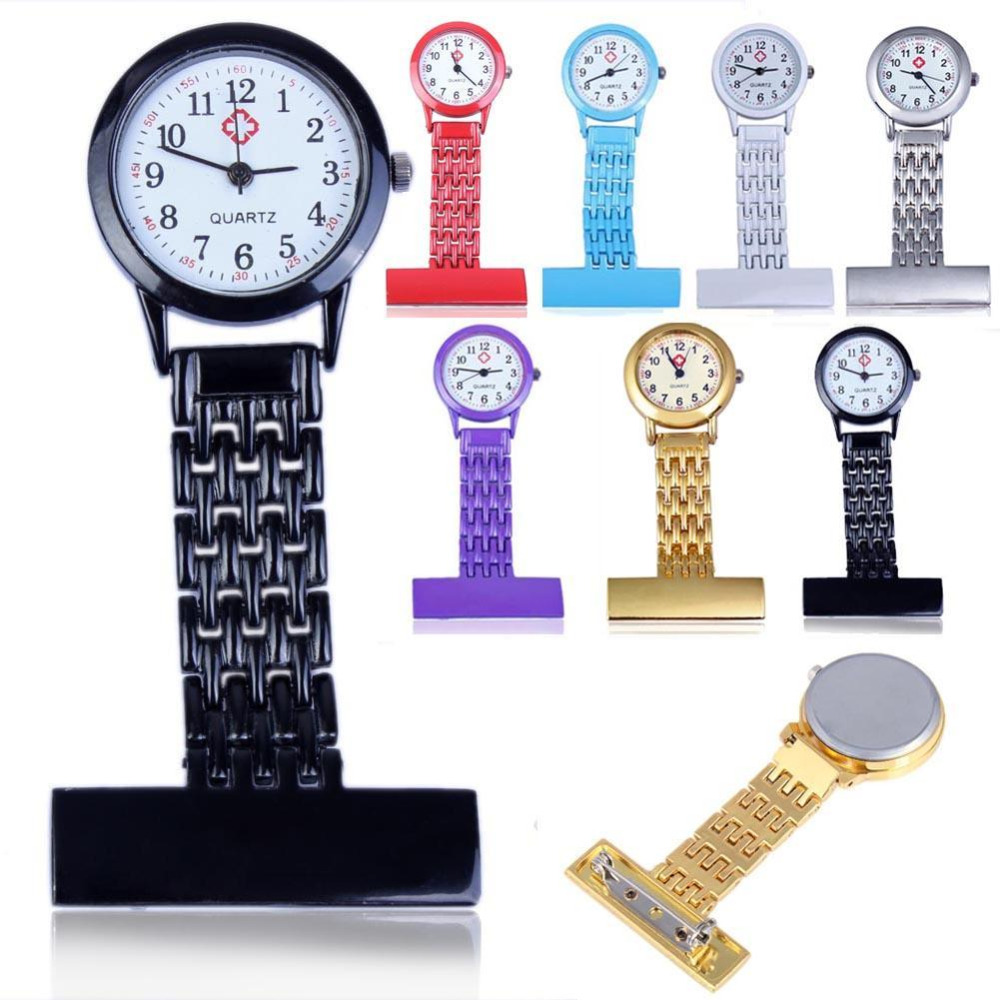 Stainless Steel Arabic Numerals Nurse Watch Colorful Doctor Pock