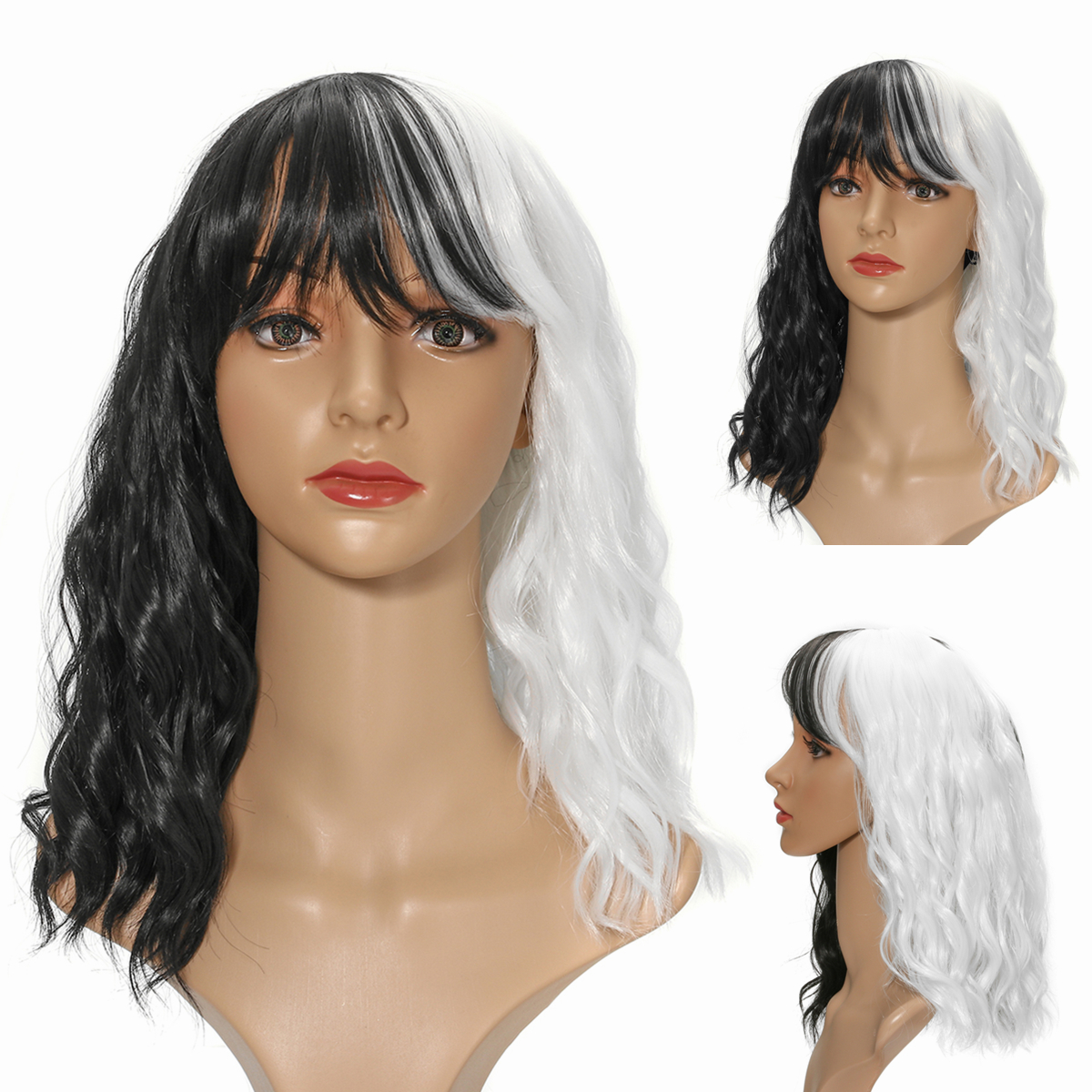 14'' Women Cosplay Black White Synthetic Curly Hair Wig Shoulder