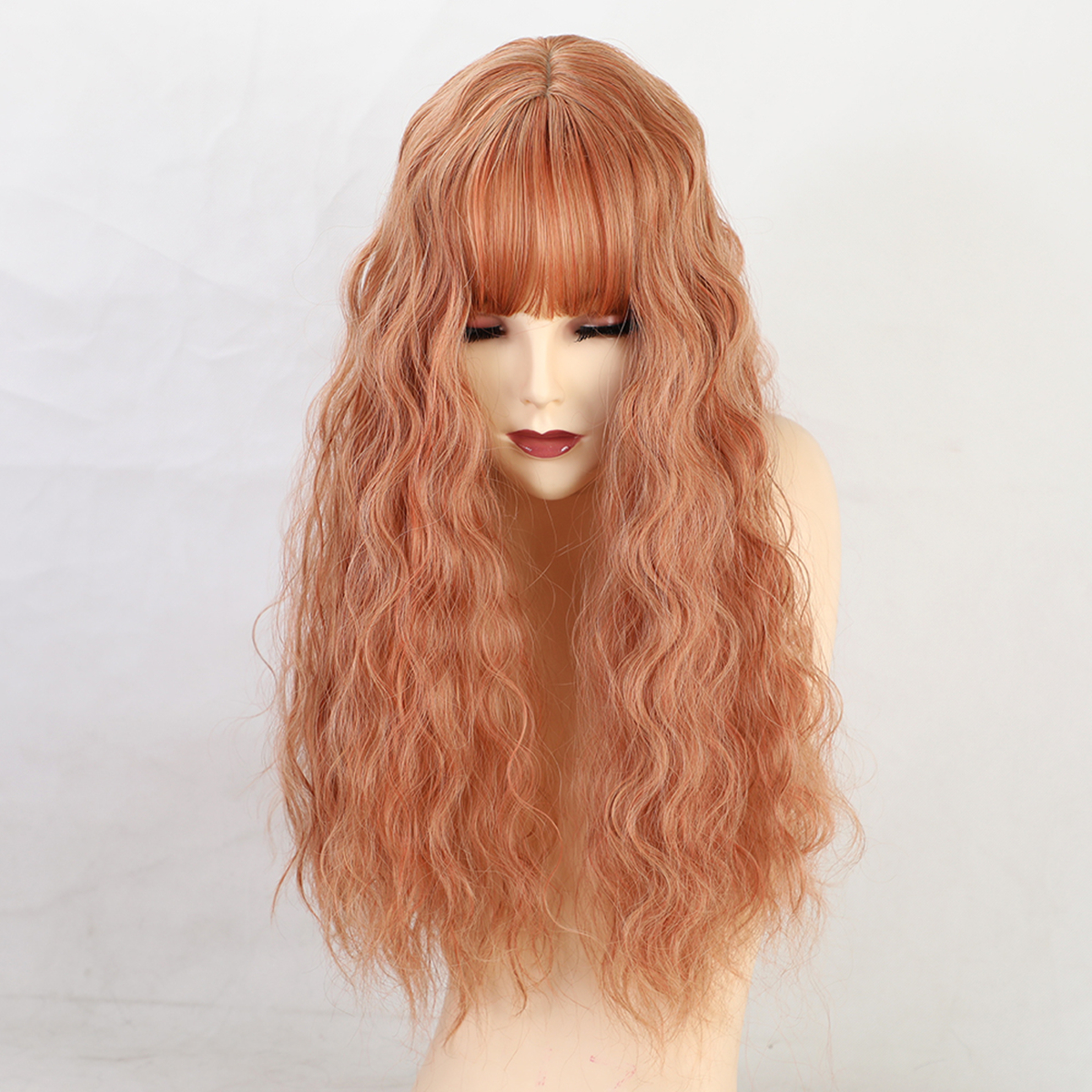 22 Synthetic Hair Women Wigs Long Curly with Bangs Wig Orange""