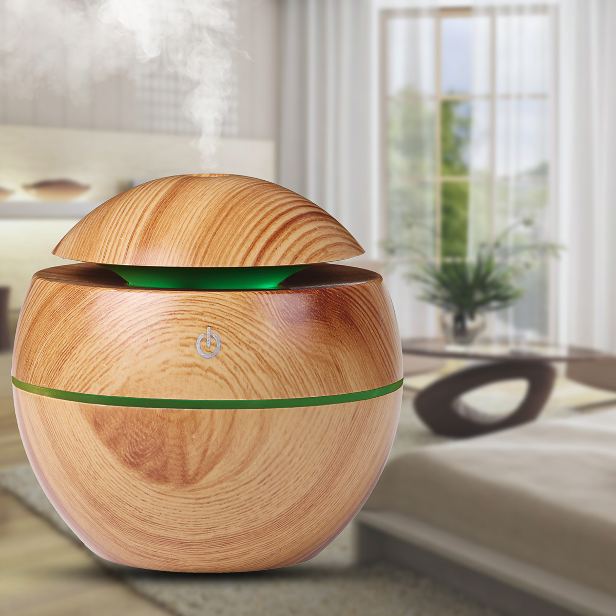 130ML Wood Grain Aroma Air Humidifier with LED Lights Essential