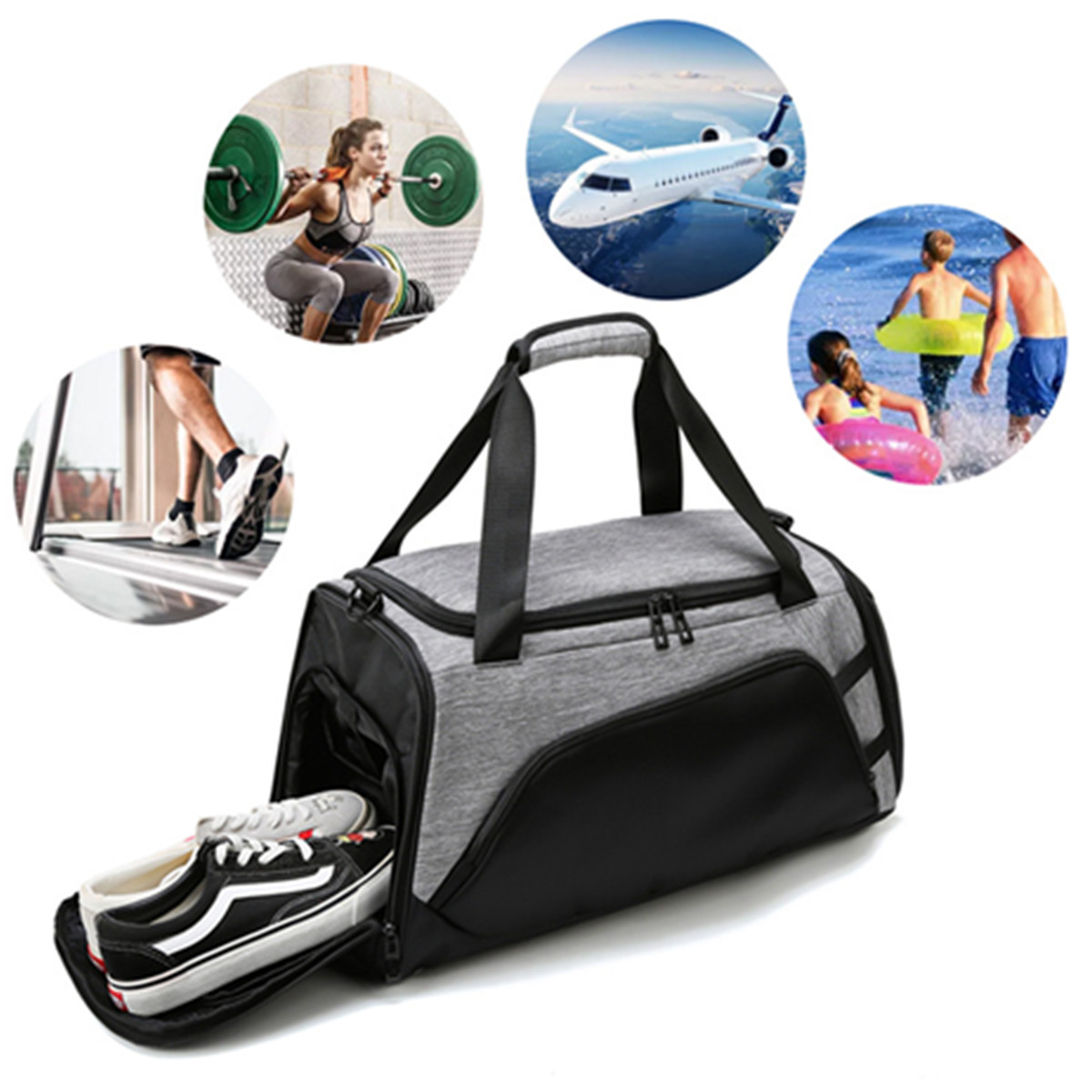 22in Large Capacity Sports Gym Bag w/ Shoes Compartment Travel H