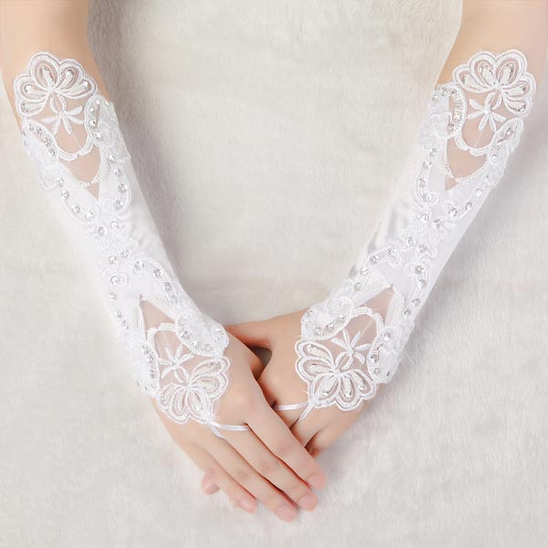 Bridal Wedding Dress Fingerless Embroidered Gloves
