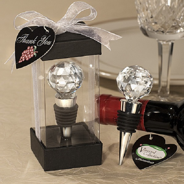 Wedding Favors Cork Round Crystal Ball Metal Creative Wine Stopp