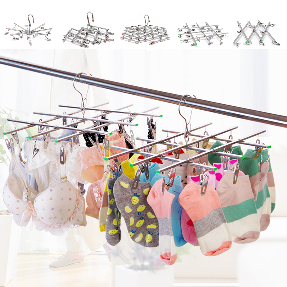 10-35Clips Foldable Cloth Hanger Outdoor Travel Home Underwear S