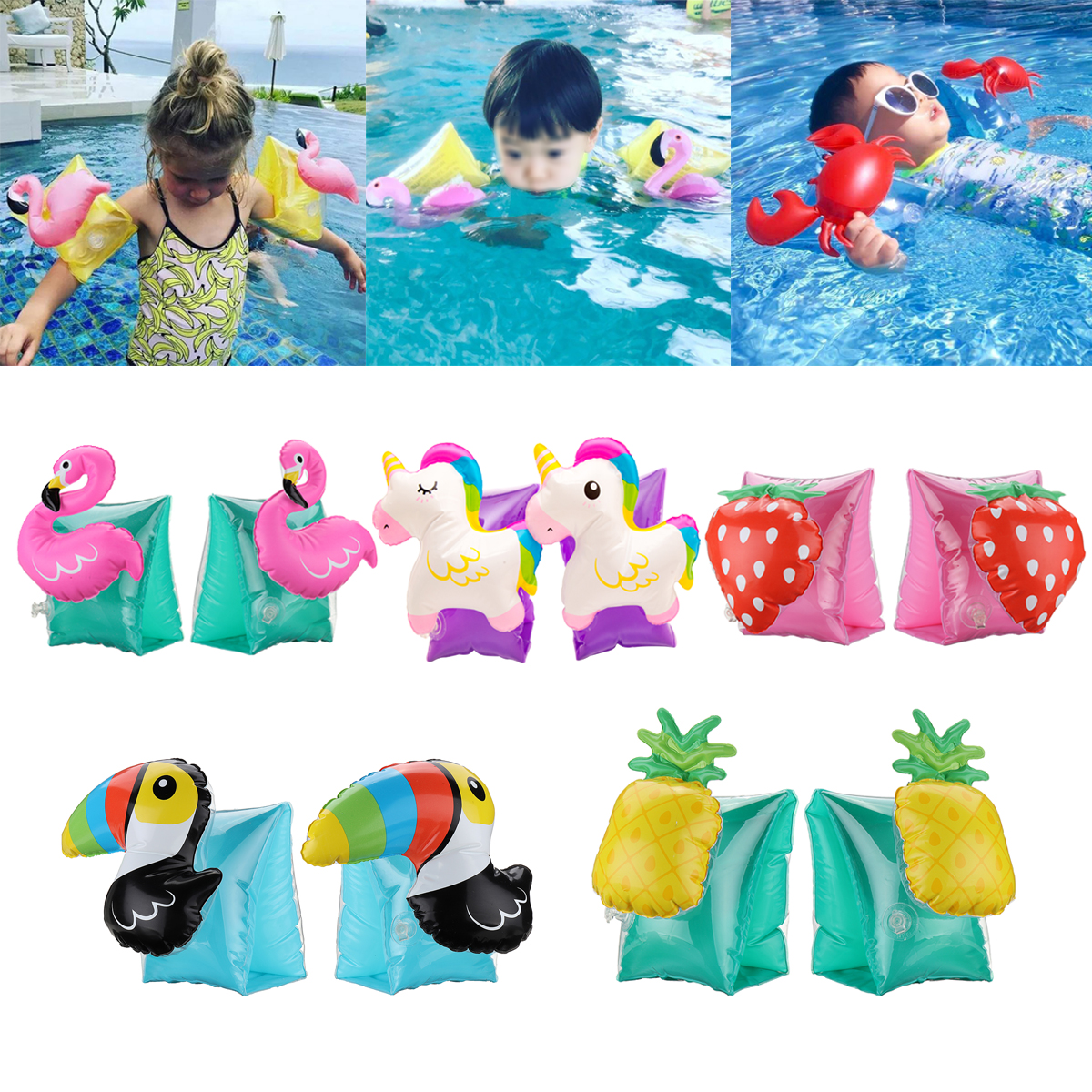 1 Pair Kids Summer Inflatable Safety Swimming Ring Arm Bands Car